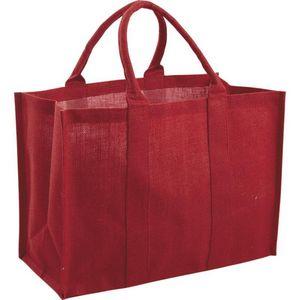 Aubry-Gaspard - sac en jute plastifiée rouge - Cabas