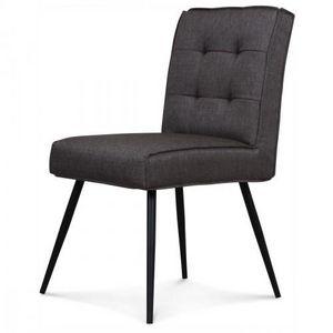 Demeure et Jardin - chaise design capitonné carré gris flanelle - Chaise