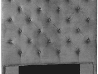 Amadeus - t�te de lit en velours velvet 90x120cm gris clair - T�te De Lit