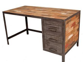 WHITE LABEL - bureau 3 tiroirs - industry - l 140 x l 70 x h 76  - Bureau
