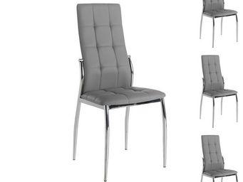 WHITE LABEL - quatuor de chaises eco-cuir gris - calas - l 42 x  - Chaise
