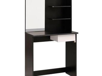 WHITE LABEL - coiffeuse 1 tiroir noir/blanc - nelly - l 75 x l 4 - Coiffeuse