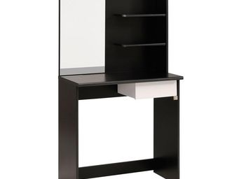 TOUSMESMEUBLES - coiffeuse 1 tiroir noir/blanc - nelly - l 75 x l 4 - Coiffeuse