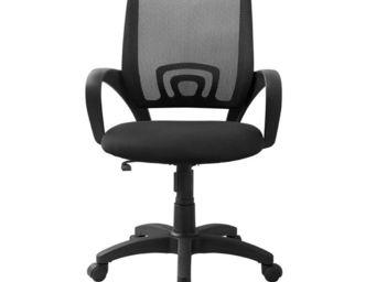 WHITE LABEL - fauteuil de bureau noir - darwin - l 56 x l 56 x h - Fauteuil De Bureau