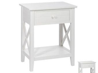 WHITE LABEL - duo de tables de chevet 1 tiroir blanc - ferret -  - Table De Chevet