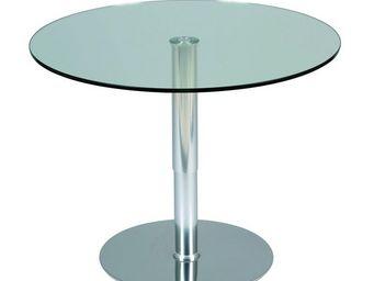 WHITE LABEL - table à hauteur variable transparent - stratos - d - Table D'appoint