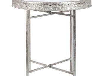 WHITE LABEL - table ronde argent plateau verre - tunis - l 76 x  - Table D'appoint