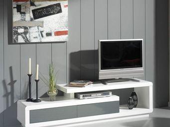 WHITE LABEL - meuble tv 2 tiroirs blanc/gris - dubrovnik - l 170 - Meuble Tv Hi Fi