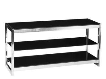 WHITE LABEL - meuble tv en verre noir - karel - l 110 x l 39,5 x - Meuble Tv Hi Fi