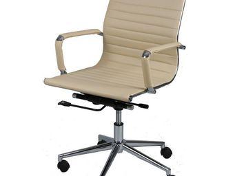 WHITE LABEL - chaise de bureau simili cuir beige - celia - l 56  - Fauteuil De Bureau