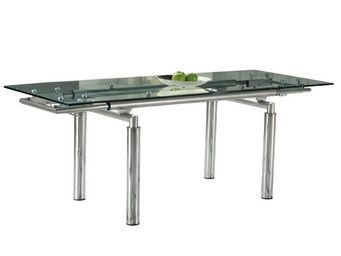 WHITE LABEL - table de repas à allonges verre - florax - l 140/2 - Table De Repas Rectangulaire