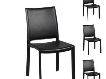 WHITE LABEL - quatuor de chaises noires - blake - l 48 x l 58 x  - Chaise