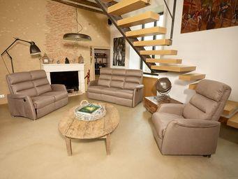 TOUSMESMEUBLES - salon complet relaxation �lectrique marron cendr�  - Salon