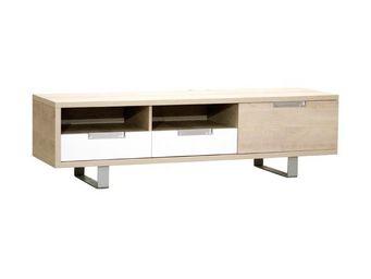 WHITE LABEL - meuble tv 1 porte 2 tiroirs chêne clair - dakar -  - Meuble Tv Hi Fi