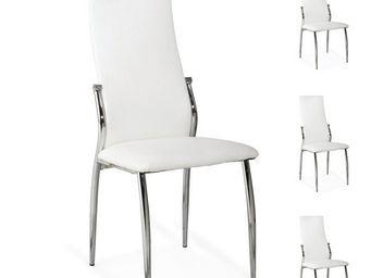 WHITE LABEL - quatuor de chaises simili cuir blanc - toronto - l - Chaise