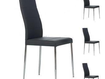 WHITE LABEL - quatuor de chaises grises - alta - l 42x l 55 x h  - Chaise