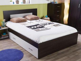 WHITE LABEL - cadre de lit à tiroir + tête de lit 160*200 wengé  - Lit Double