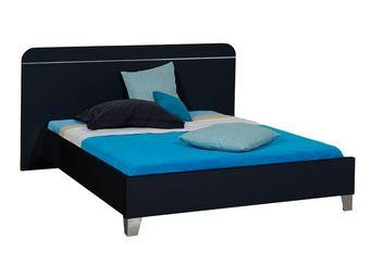 TOUSMESMEUBLES - cadre de lit + t�te de lit 160*200 laqu� noir - un - Lit Double