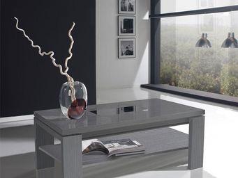 WHITE LABEL - table basse relevable cendre - delya - l 100 x l 5 - Table Basse Rectangulaire
