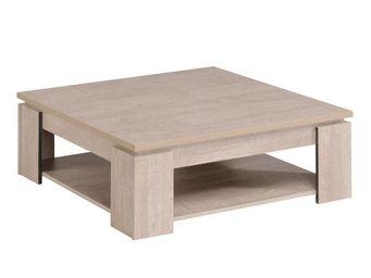 WHITE LABEL - table basse carrée chêne délavé - barker - l 87 x  - Table Basse Carrée