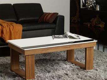 WHITE LABEL - table basse relevable noyer - upto - l 110 x l 60  - Table Basse Rectangulaire