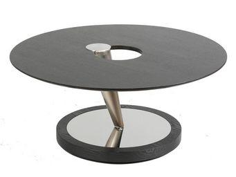 WHITE LABEL - table basse acier et bois - guy n°1 - l 100 x l 10 - Table Basse Ronde