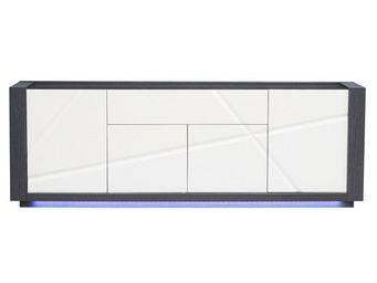 WHITE LABEL - buffet 4 portes 1 tiroir - stripe - l 240 x l 50 x - Buffet Bas