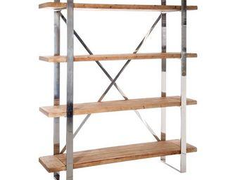 WHITE LABEL - bibliothèque bois et métal 4 étagères - beny - l 1 - Etagère