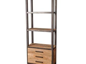 WHITE LABEL - bibliothèque 3 tiroirs 2 plateaux - modernity - l  - Etagère