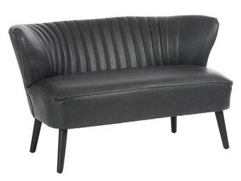 WHITE LABEL - canapé 2 places vintage noir - john - l 123 x l 71 - Fauteuil
