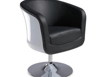 WHITE LABEL - fauteuil simili cuir noir - bear - l 71 x l 64 x h - Fauteuil Rotatif
