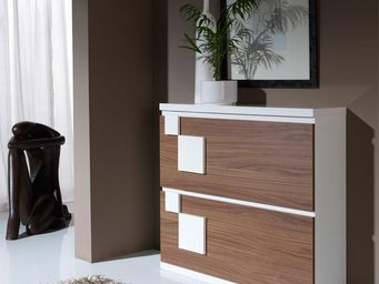 WHITE LABEL - meuble à chaussures blanc/noyer - squadra n°1 - l  - Meuble À Chaussures