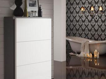 WHITE LABEL - meuble à chaussures blanc/cendre - basica - l 120  - Meuble À Chaussures
