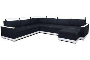 WHITE LABEL - canapé convertible niagara angle panoramique noir  - Canapé Modulable