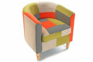 WHITE LABEL - fauteuil houndstooth patchwork avec accoudoirs - Fauteuil