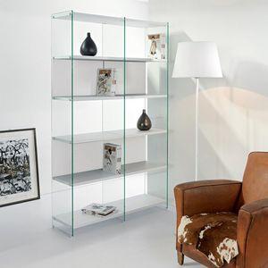 WHITE LABEL - bibliothèque babylone blanc céruse et verre - Bibliothèque