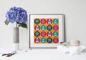 la Magie dans l'Image - print art héros pattern orange - Tableau Décoratif