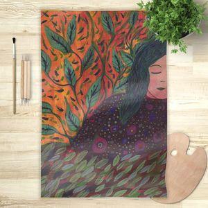 la Magie dans l'Image - foulard rêveuse aux cheveux verts - Foulard Carré