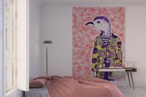 la Magie dans l'Image - grande fresque murale mon petit oiseau fond orange - Papier Peint Panoramique