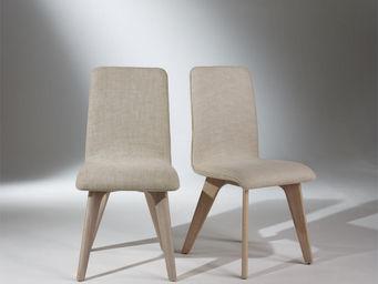 robin des bois - 2 chaises, chêne et lin, pieds fuselés, sixty - Chaise