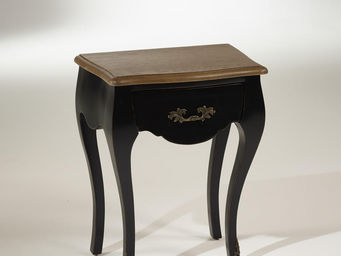 robin des bois - chevet noir, plateau chêne, 1 tiroir, alice - Table De Chevet
