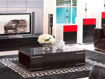 WHITE LABEL - table basse avec tiroir miami - noir - Table Basse Rectangulaire