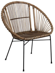 Aubry-Gaspard - fauteuil rond en rotin gris et métal - Fauteuil