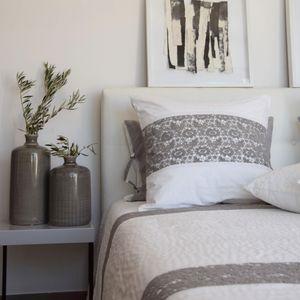 MAISON D'ETE - taie d'oreiller nantes blanc et gris - Taie D'oreiller