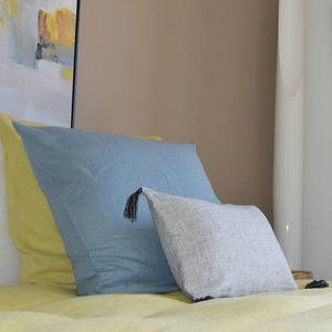 MAISON D'ETE - taie d'oreiller en lin lavé bleu du nil - Taie D'oreiller