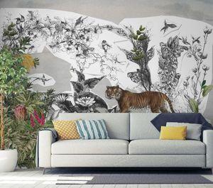 IN CREATION - tigre et forêt - Papier Peint Panoramique