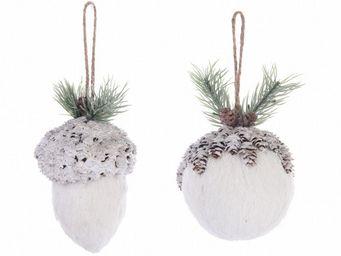 Kaemingk - décoration de noël en coton et pin à suspendre ven - Décoration De Sapin De Noël