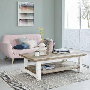BOIS DESSUS BOIS DESSOUS - table basse en bois de pin recyclé 140 atlantic - Table Basse Rectangulaire