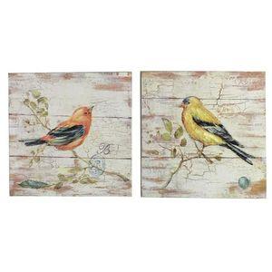 CHEMIN DE CAMPAGNE - 2 tableaux cadres en bois peint oiseaux 20x20 cm - Tableau Décoratif