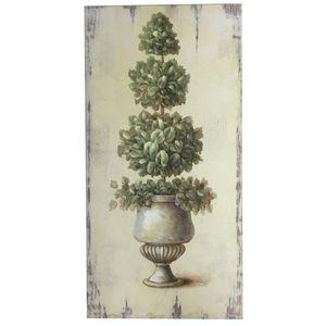 CHEMIN DE CAMPAGNE - tableau cadre en bois peint buis vasque médicis 80 - Tableau Décoratif